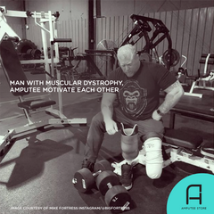 A man with muscular dystrophy and an amputee motivate each other to defy the odds.