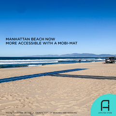 Officials installed Mobi-Mats on the sands of Manhattan Beach, making it accessible to prosthetic users.