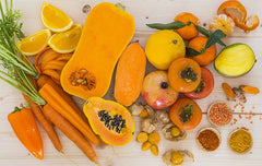 Orange fruits and veggies