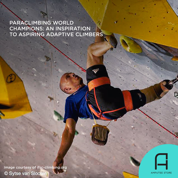 Thierry Delarue, an adaptive climber from France, scaling up a wall during the IFSC 2019 Paraclimbing World Championships.
