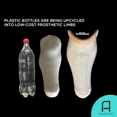 Low-cost prosthetic limbs are being created from plastic bottles.