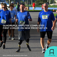 New quadruple amputee Gary Miracle completes his first race on new prosthetics.