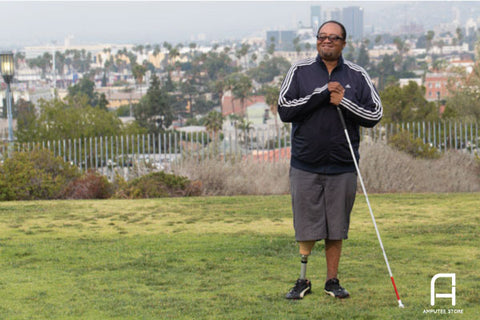 Lost his vision and leg to diabetes and still takes public transportation to work everyday.
