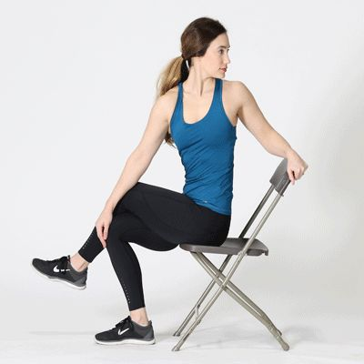 The seated lower back rotational stretches can relieve tension in the back muscles.