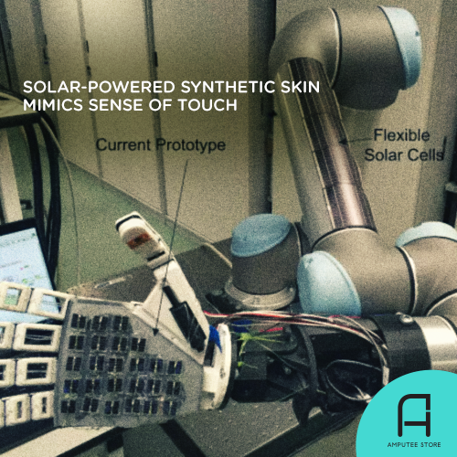 Scientists developed a solar-powered skin that can mimic the sense of touch.