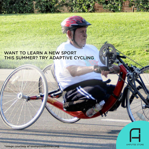 A bilateral above knee amputee learning to ride a hand cycle.
