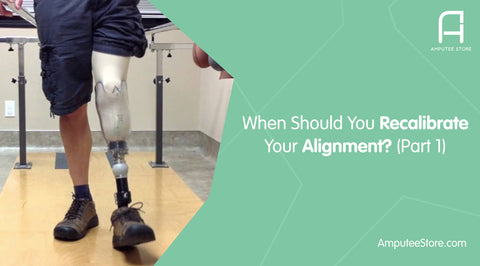 A below-the-knee amputee having his alignment adjusted