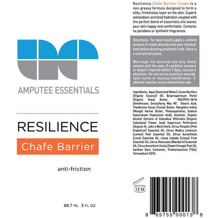 Amputee Essentials Resilience Chafing Barrier Cream is formulated with shea butter to protect your skin and prevent rubbing from prosthetic sockets.