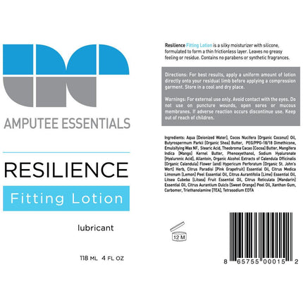 Amputee Essentials Fitting Lotion ingredients for compression garments.