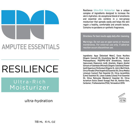Amputee Essentials Prosthetic Moisturizer ingredients for skin hydration and part of your amputee skincare routine.