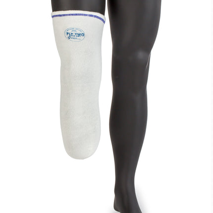 Size medium long 2 ply prosthetic sock that keeps your stump cooler and drier.