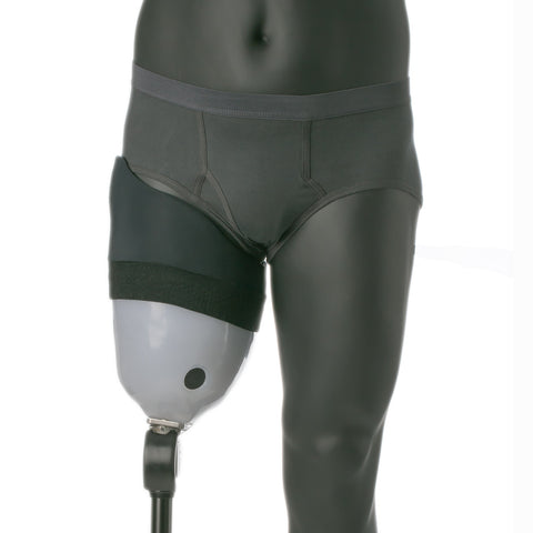 Knit-Rite A/K Brim Prosthetic Sheath to reduce socket irritation along groin.
