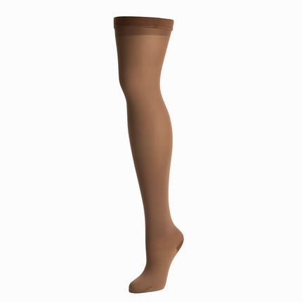 Knit-Rite above knee cosmetic hosiery in brown skin tone.