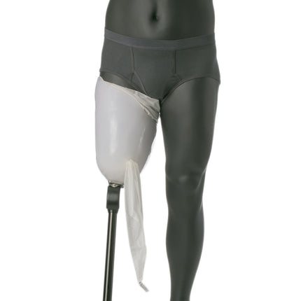 Knit-rite power pull nylon sock is pulled through the suction valve and draws your skin into prosthetic leg..