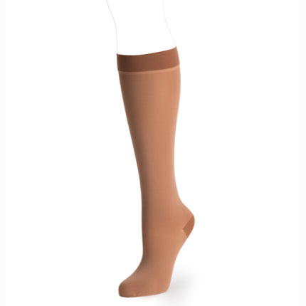 Knit-rite prosthetic cosmetic hosiery below knee in latin skin tone.