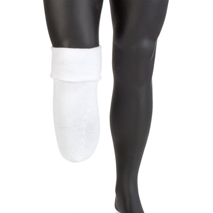 Knit-Rite below knee prosthetic sock with coolmax to wick perspiration away reflected to show soft inside.