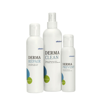 Ottobock derma skin care line with prevent, repair and clean.