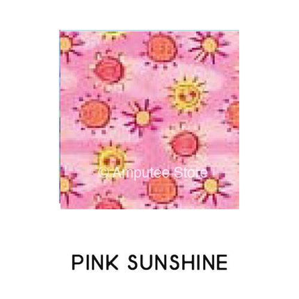 Pink Sunshine pattern is fun for covering your prosthetic leg.