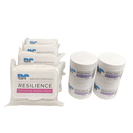 Amputee Essentials Resilience Shower Wipes, Hypoallergenic, Tea Tree Oil, Vitamin E & Aloe, 30ct