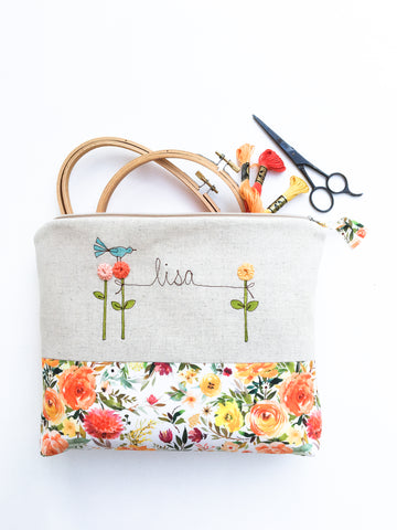 Personalized Floral Project Bag