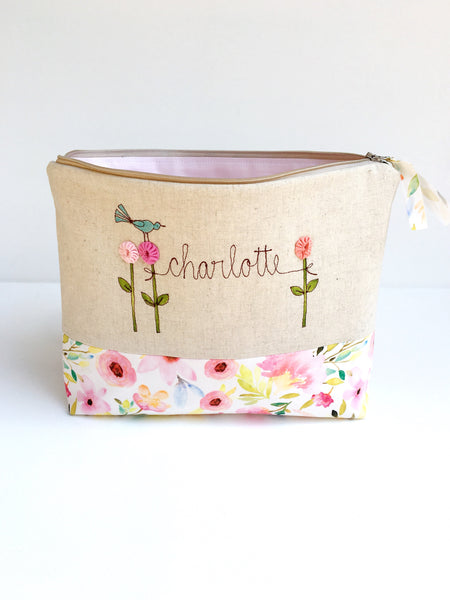 Large Personalized Cosmetic Bag