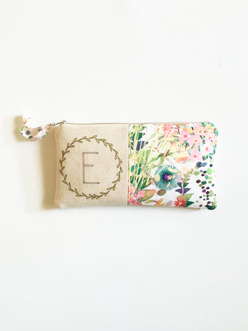 Monogram Wreath Clutch - Watercolor Floral