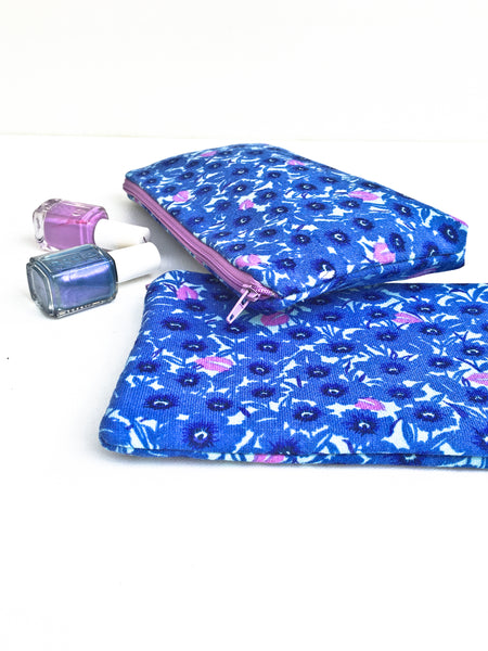 Navy Blue and Purple Zipper Pouch Set