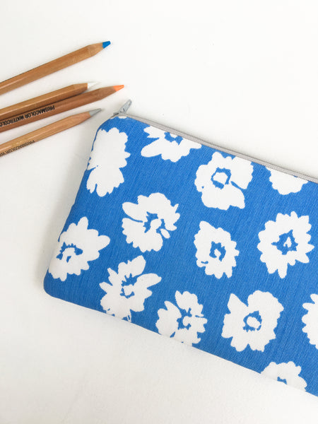 Blue and White Floral Zipper Pouch