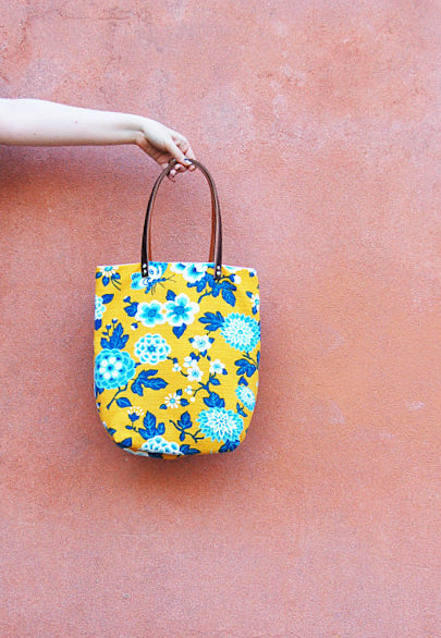 Bucket Tote Bag - Yellow and Blue