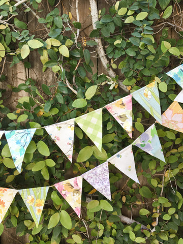 Set of 5 Fabric Flag Pennant Garlands
