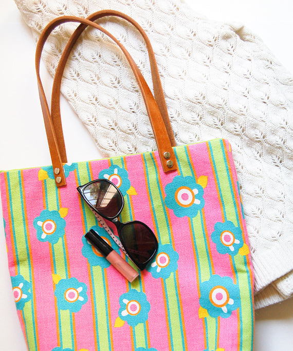 Floral and Stripes Tote Bag