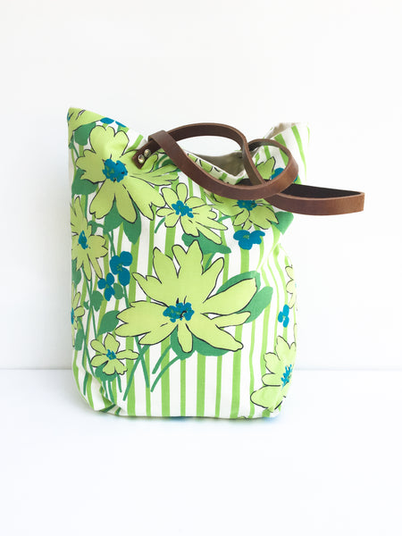Large Tote Bag - Green and Blue