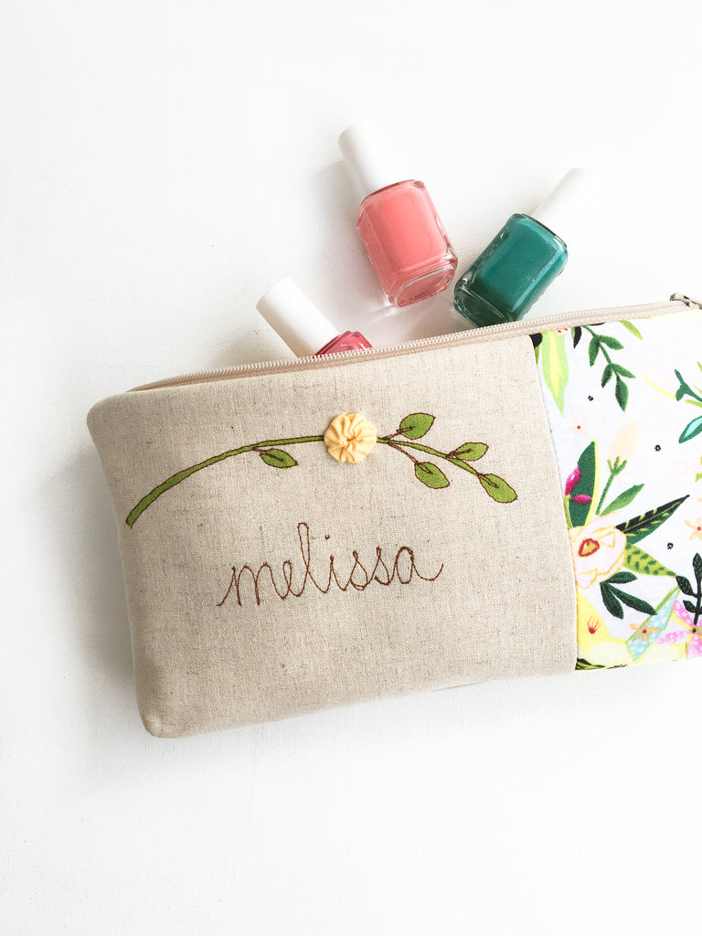 Pressed Flower Cosmetic Bag