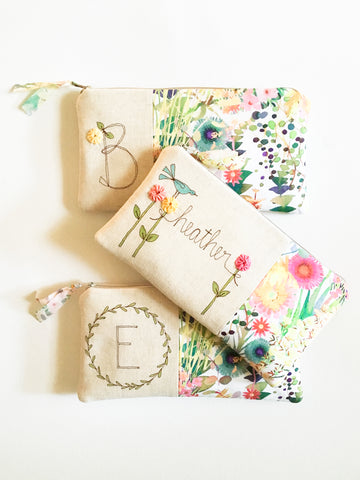 Personalized Floral Clutch