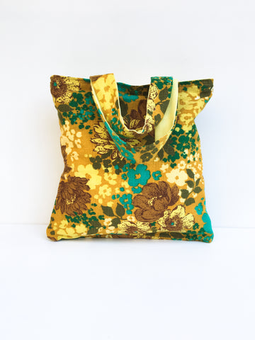 Mustard Yellow and Turquoise Tote Bag
