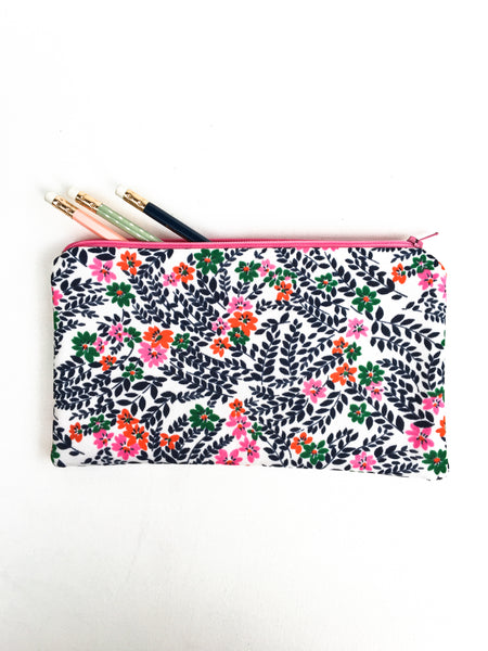 Flowers and Leaves Zipper Pouch