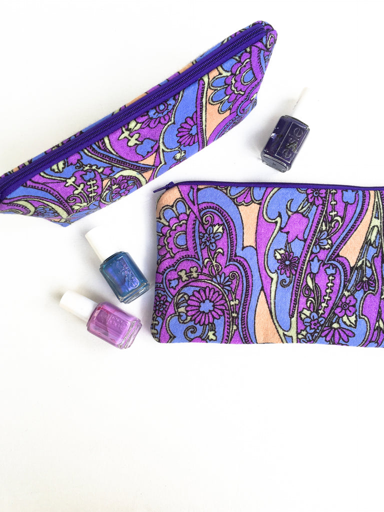Retro Purple Zipper Pouch Set