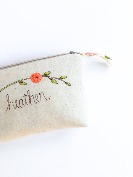 Personalized Floral Makeup Bag