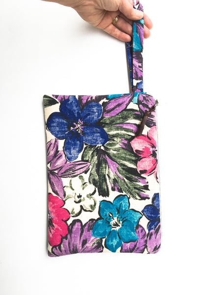 Tropical Vintage Fabric Wristlet Clutch
