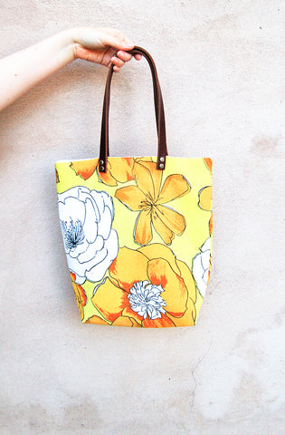 Yellow Floral Tote Bag