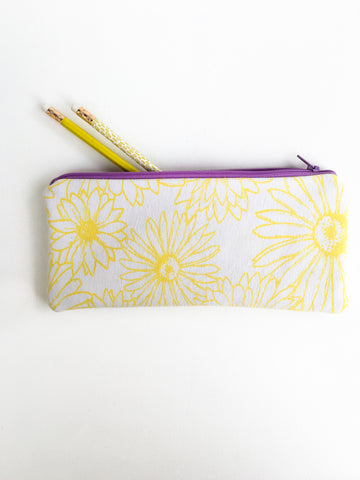 Yellow Floral Zipper Pouch