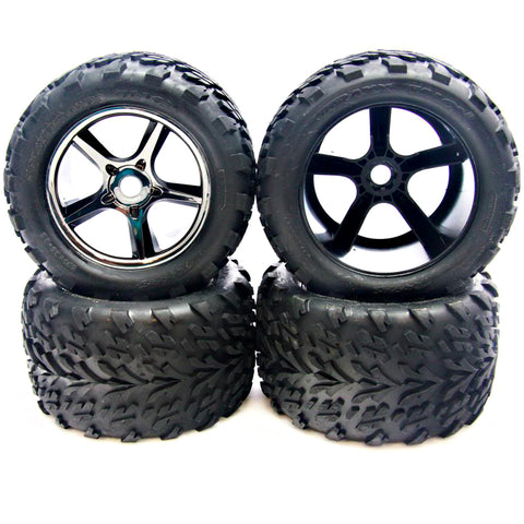 Traxxas 1/10 E-Revo Brushless Gemini Black Chrome Wheels & Talon Tires, 17mm Splined Hex