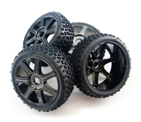 HPI Racing 1/8 Trophy Buggy 3.5 Proto Tires, Foams & Edge Black Chrome Wheels with 17mm Hex