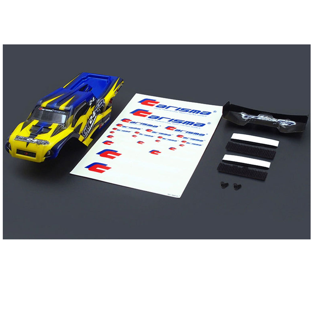 CIS15687 CIS15687 Carisma 1/24 GT24TR Yellow and Blue Body Shell, Wing, Mounting Hardware and Decal Sheet