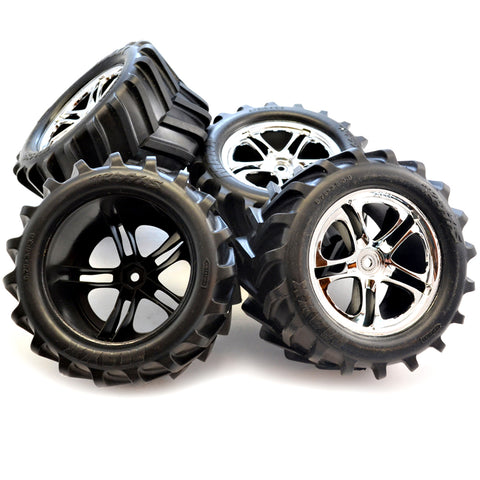Traxxas 1/10 T-Maxx 2.5 Chevron Tires & 14mm Hex SS Chrome Wheels