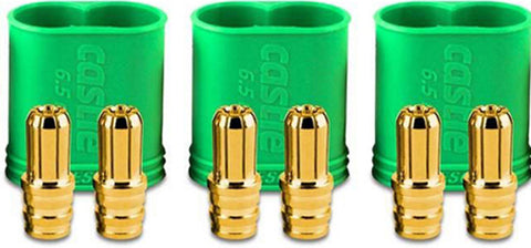 Castle Creations Three 6.5mm Polarized Bullet Male Connectors 200A, 011-0068-0011006800
