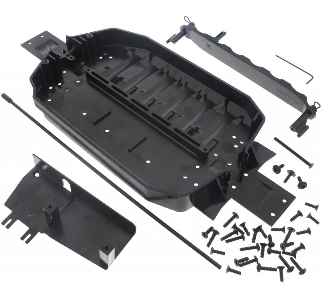 E10 Chassis 109494 Chassis & Upper Deck, 30+ Screw Set & Antenna Tube