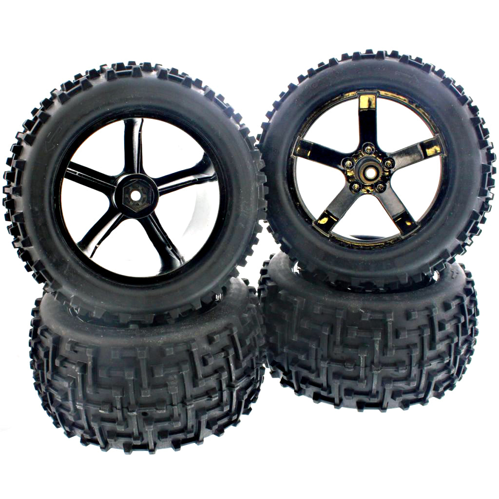 eBullet Tires MT 107008 Front & Rear Ammunition MT Tires & 5 Spoke Wheels - 14mm Hex