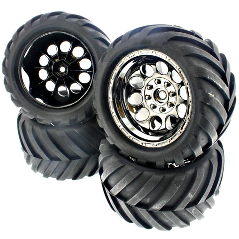 HPI Racing 1/10 Bullet MT / ST Flux Front & Rear Ammunition ST Tires & Black Chrome Wheels - 14mm Hex