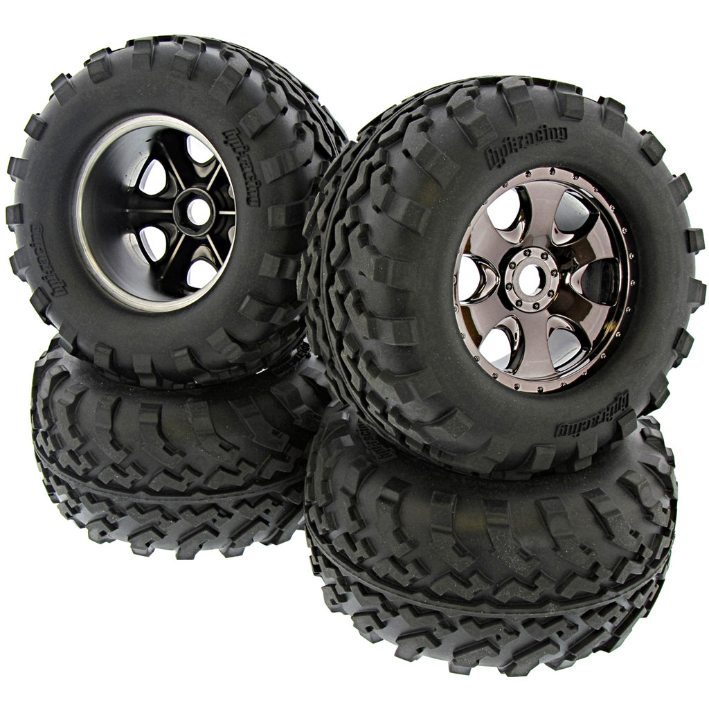 FluxXL Tires 112609 4462 105801 GT2 Tires & Warlock Black Chrome Wheels